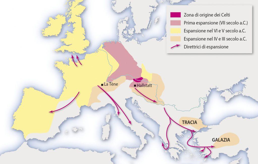 cartina espansione celti